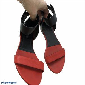 chloe red leather ankle strap sandals 36 6